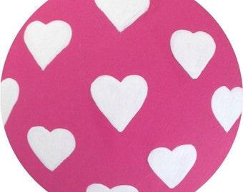Hot Pink & White Hearts Painted Wood KIDS Decorative Dresser Furniture Cabinet Drawer Pulls Knobs Girls Nursery Room Childrens Art Decor