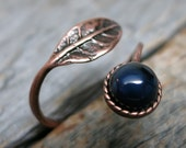 Spirit of the Forgotten Forest ring ... antique copper / leaf / spiral ring / sapphire / adjustable band size