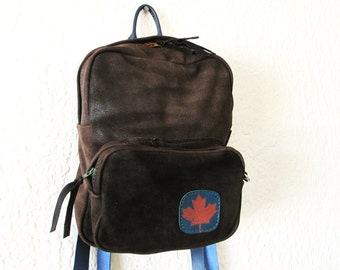 Mini Backpack upcycled nubuck leather chocolate brown