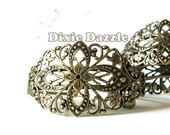 5 Antique brass filigree cuff bracelets, cuff bracelet, vintage style bracelet, filigree cuff,bridal jewelry,bridesmaid gift,assemblage base