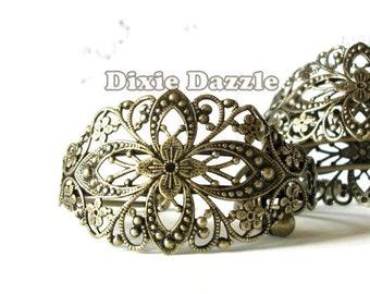 5 Antique brass filigree cuff bracelets, cuff bracelet, vintage style bracelet, filigree cuff,bridal jewelry,bridesmaid gift,assemblage base