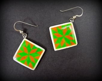 Quilt Block Star Earrings - CARAMEL APPLE - bright green square earrings - ostrich eggshell jewelry