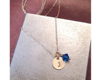 Personalized Hand Stamped Gold Filled Tiny Initial Necklace with swarovski crystal