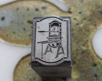 Printing Press Vintage Metal Letterpress Printers Block