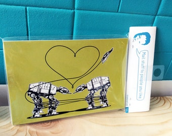 AT-AT Love Postcard Pack: Star Wars Stationery, Star Wars Valentines, Star Wars Parody, Postcrossing, Walkers