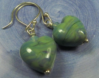 Lush green heart earrings