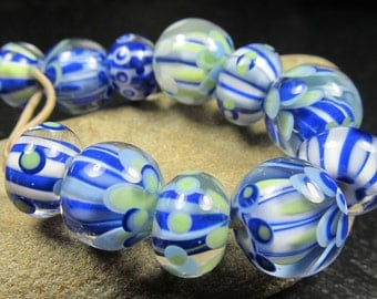 Blue and white petal and candy stripe beads lampwork bead set