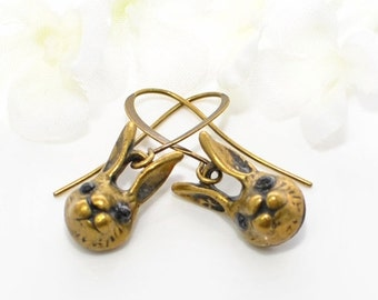 Rabbit Earrings The Dynamic Bunny Duo - Bunny Rabbit Jewelry - Bunny Earrings - Bronze Rabbit Jewellery