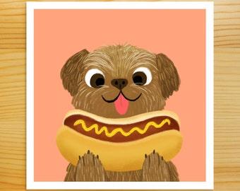 Hot Dogs 5x5 Print