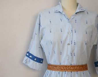 1950s blue confetti dress vintage