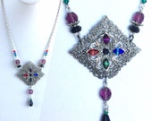 Handmade Antique Silver Filigree Necklace with Colorful Rhinestones of Red Blue Green Purple Black with Faceted Glass and Swarovski Crystals