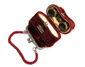 RARE Antique Victorian Opera Glasses in Fitted Red Velvet Purse with Multiple Compartments Striped Two Toned Mother of Pearl Circa 1900