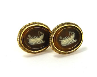 Vintage Incolay VIKING SHIP Cameo Cuff Links Dante Masterpiece Cufflinks circa 1950