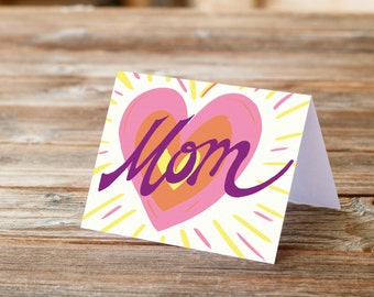 Mom Big Heart Mother's Day Mother Greeting Card Love you mom appreciation handlettering font retro pink