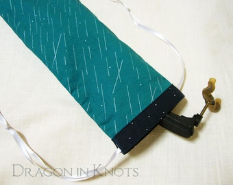 Violin or Viola Shoulder Rest Bag - Teal and Metallic Silver, Navy and White Drawstring Bag - rain drops, rainy day, abstract geometric