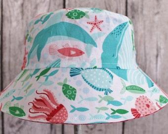 Kids Child Children Reversible Fabric Bucket Hat Under the Sea