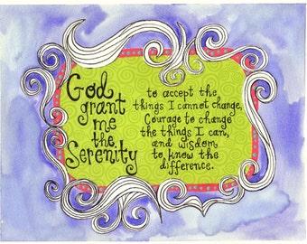 Serenity prayer, 8 x 10 print, watercolor