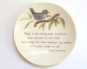 Hope is the Thing with Feathers . Emily Dickinson . Quote . Jewelry Dish . Blue bird . Ring Holder