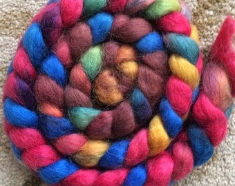 4 ounces Wensleydale Top-Professionally dyed-Jellybeans colorway-Self-Striping