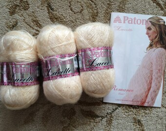 Patons Lacette-Lot of Three-With Patons Lacette Knit Pattern book with 8 Patterns-Discontinued Yarn-Cream Caress