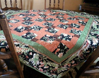 Lap Quilt - Botanical Print Fabric - Sofa Throw - Blanket - Fall, Brown, Green, Autumn - patchwork quilt - Handmade Quilt - quilt