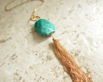 The Maggie- Turquoise and Gold Tassel Necklace