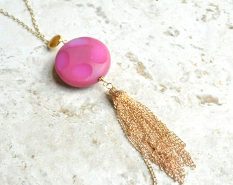 The Sadie- Pink Agate and Gold Tassel Necklace