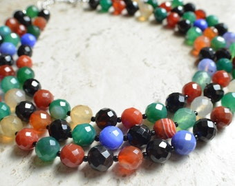 Betty - Multi Color Agate Statement Necklace