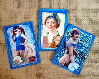Beach Ladies Summer Seashore Magnets Refrigerator/Fridge Magnets Recycled Upcycled One of a Kind Original Collage Artwork Eco Friendly