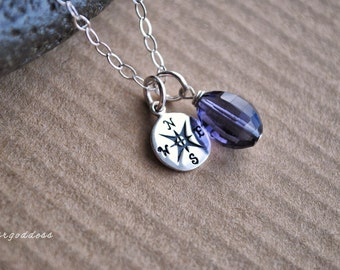 COMPASS sterling silver faceted purple amethyst drop necklace clasp and length choice by srgoddess