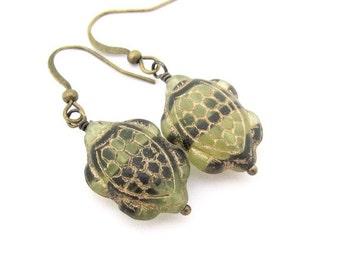 Turtle Earrings, Turtle jewelry, Hawaiian Jewelry, Beach Teen Resort,  Clip on Earrings, Dangle Animal Jewelry, Ocean Sea, Gift For Her