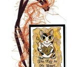 Steampunk Cat Bookmark Steampunk Valentine Cat Bookmarker Fantasy Cat Art Mini Bookmark Gift For Cat Lover