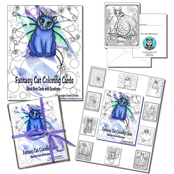 Fairy Cat Coloring Note Card Gift Set Adult Coloring Book 10 Greeting Cards Fantasy Cats Art Cat Lovers Gift