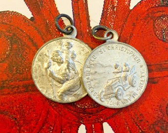 1ps ST. CHRISTOPHER MEDAL Vintage Aluminum Behild St. Christopher Then Go Your Way In Safety