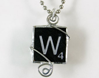 Black Letter W Scrabble Pendant Necklace