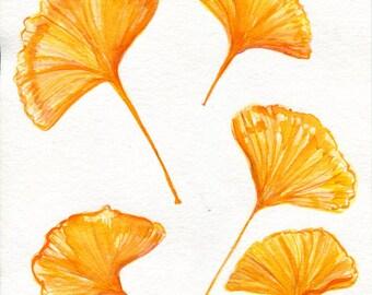 Gingko watercolor painting, Gingko Leaves, 8 x 10 Fall leaves, watercolor art, watercolors paintings original, small leaf art, autumn decor