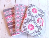 Burp Cloths Baby Girl  - Set of 3 - Super Absorbent Chenille Triple Layer  - Floral Lattice, Tiny Medallions, Shabby Stripe - PINK & GRAY