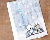 Set of 4 Winter Westie and Yorkie Terrier dog Holiday Cards