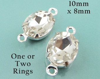 Crystal Oval Glass Beads, 10mm x 8mm, Silver Plated Brass Settings, One or Two Rings, Glass Gems, Bridal Jewels, Rhinestones, One Pair