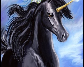 Art Print - Rare Black Unicorn by Patricia Ann Rizzo