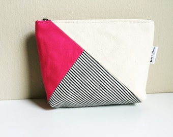 Color Block Natural and Fuchsia Pink Canvas Striped Cosmetic Makeup Bag, Canvas Zipper Pouch, Makeup Case, 144 Collection