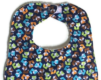 Baby Bib Set, Baby Boy Bib, Foxes and Apples Bibs, Handmade Baby Bibs Set of 2, Infant Bib, Blue Bib, 144 Collection