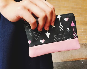 Leather Zipper Pouch Arrow and Heart Love Black, Small Leather Coin Purse, Zippered Pouch, Change Purse, Gift for Her