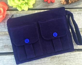 Navy Blue Corduroy Wristlet Wallet, Corduroy Wallet Wristlet, Fabric Wallet, Navy Blue Zipper Wallet, Dorothy Wristlet