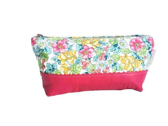 Pink Floral Leather Makeup Bag, Leather Cosmetic Bag, Toiletry Bag, Leather Clutch, Leather Pouch