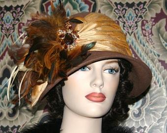 1920's Hat Downton Abbey Hat Flapper Hat Roaring Twenties Wool Hat Brown Hat Tea Hat - Autumn Spice - One of a Kind Hat