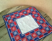 Vintage 1950s Handkerchief Cotton Hanky Pocket Square Red White Blue Geometric 2016142