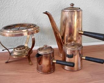 Vintage 1960s Coffee Maker Brass Espresso Set Eames Era Mid Century Turkish Coffee