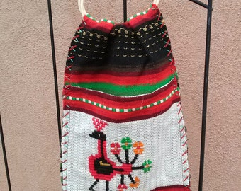 Vintage 1960s Purse Woven Mexican Guatemalan Tapestry Peacock