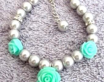 Flower Girl Bracelet with Rose Flower Charm Junior bridesmaids Wedding Flower Girl Jewelry, Pearl Flower Girl Jewelry, Free Shippin In USA